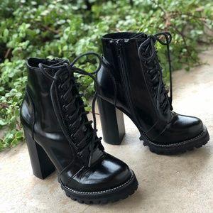 Jeffrey Campbell Black Patent Legion Combat Boots